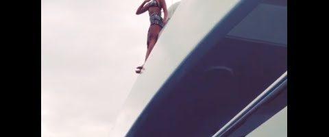 Beyonce springt van boot