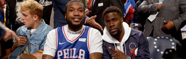 Meek Mill's eerste dag vrij: Philadelphia basketbalgame