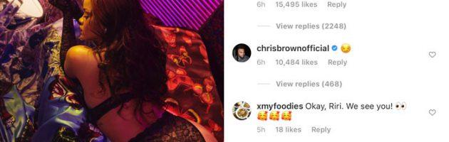 Chris Brown geilt openlijk op Rihanna's Instagram foto